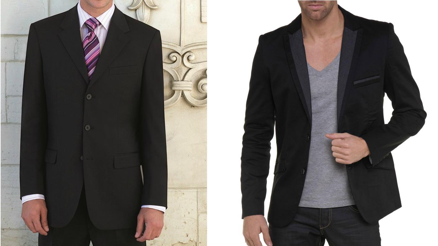 A gauche, veste mal taillée, trop grande, pas cintrée. A droite, une veste bien cintrée, bien ajustée, à sa taille .