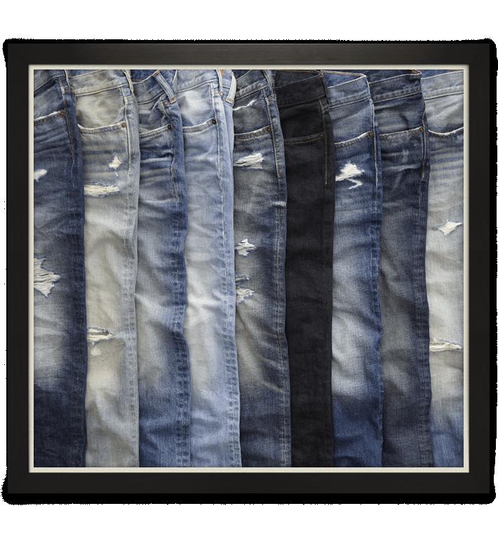 Différentes teintes de jean