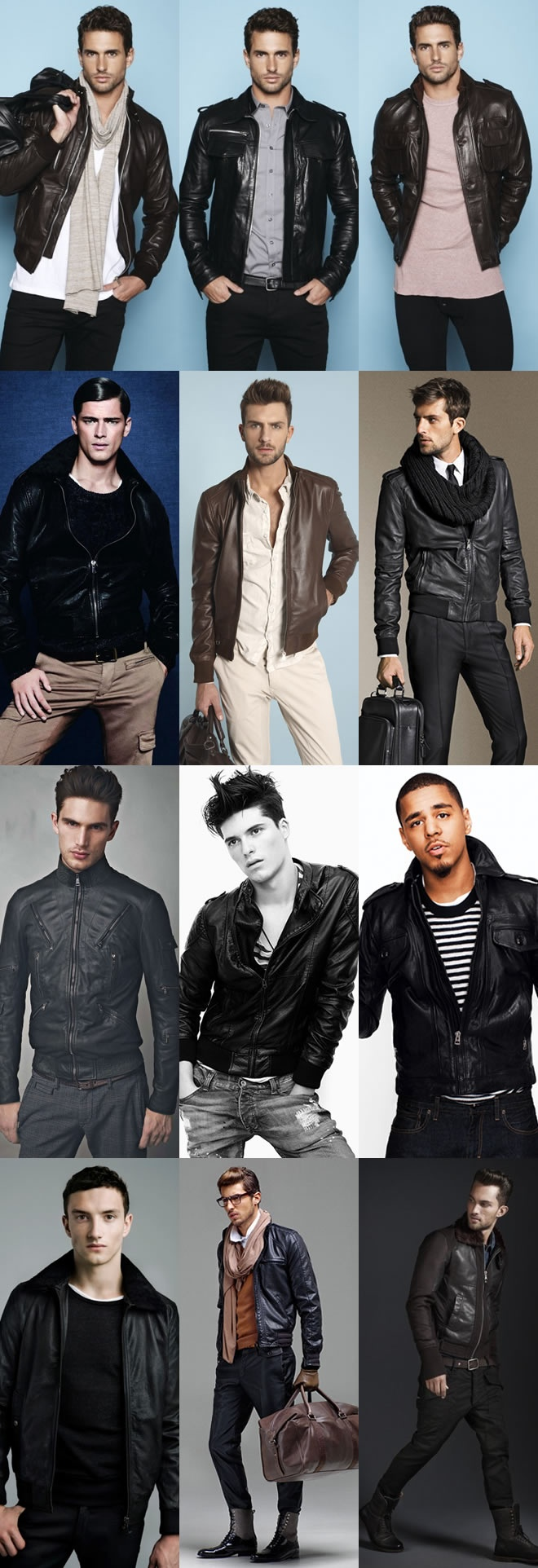 Différents looks en cuir
